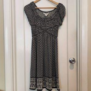 Studio M Cap Sleeve Black and White Print Dress